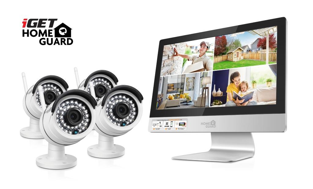 iGET HGNVK49004 - CCTV bezdrátový WiFi set HD 960p s LCD displejem 12'', 4CH NVR + 4x IP kamera 960p - HGNVK49004