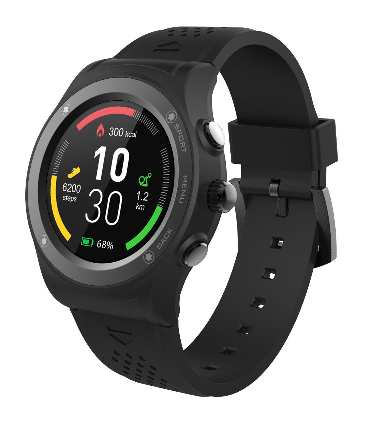 iGET ACTIVE A6 Black - chytré hodinky, IP68, GPS, IPS, BT4.0, Barometr, Výškoměr, Multisport, 350mAh