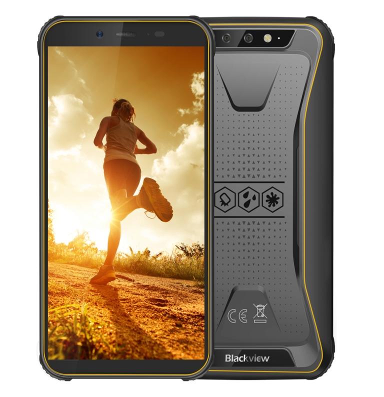 iGET Blackview GBV5500 Pro Yellow odolný telefon, 5,5' HD, 3GB+16GB, DualSIM, 4G, 4400mAh, NFC