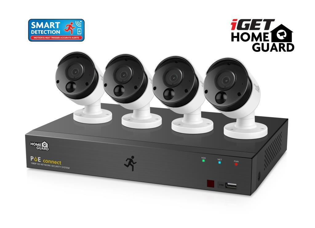 iGET HGNVK85304 - Kamerový PoE FullHD set, 8CH NVR + 4x IP 1080p kamera, SMART detekce, W/M/Andr/iOS - HGNVK85304