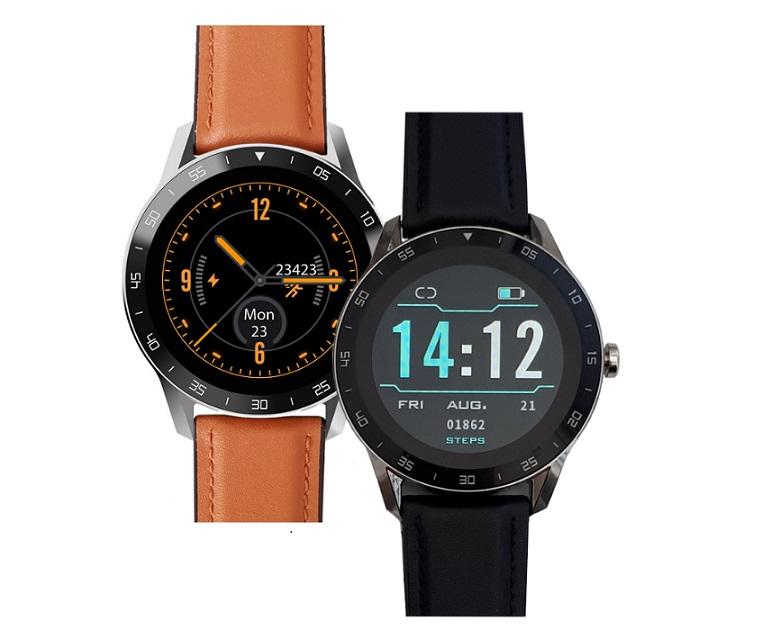 iGET BLACKVIEW GX1 Brown - chytré hodinky, 5 ATM,LCD 1.3'',260mAh, pásek silikon + eko kůže v balení!