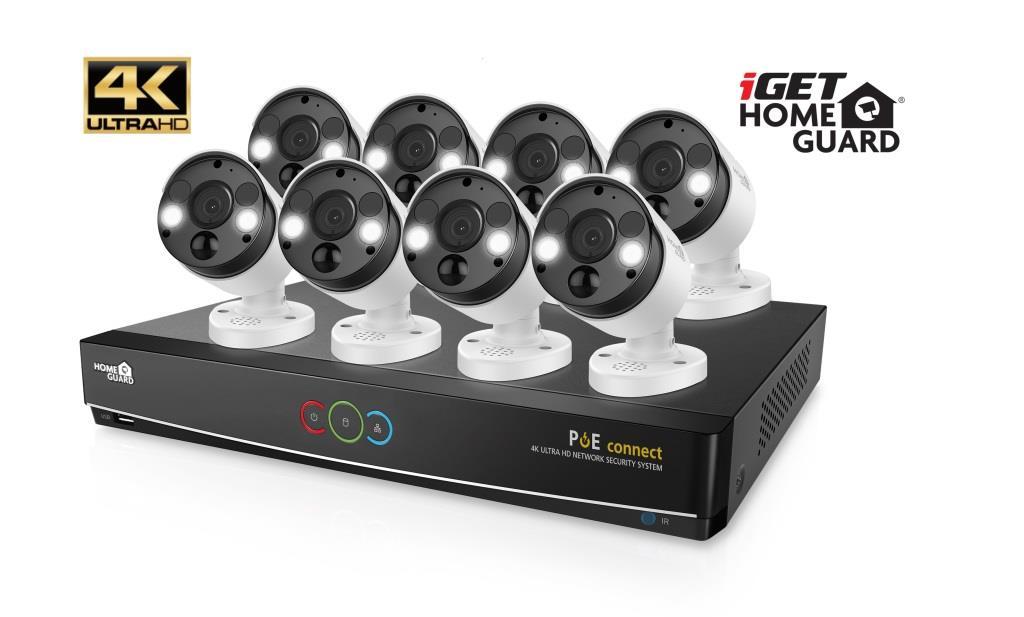iGET HGNVK164908 - Kamerový UltraHD 4K PoE set, 16CH NVR + 8x IP 4K kamera, zvuk, SMART W/M/Andr/iOS - HGNVK164908