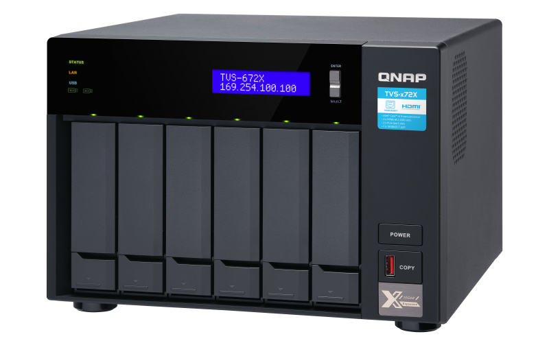 QNAP TVS-672X-i3-8G (3,1GHz / 8GB RAM / 6x SATA / 2x M.2 NVMe slot / 1x HDMI 4K / 2x GbE / 1x 10GbE) - TVS-672X-i3-8G