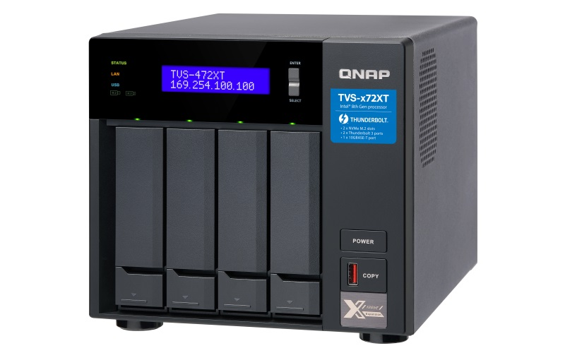 QNAP TVS-472XT-i5-4G (6core 3,3GHz, 4GB RAM, 4xSATA, 2xM.2 NVMe, 2x1GbE, 1x10GbE, 2x Thunderbolt 3) - TVS-472XT-i5-4G
