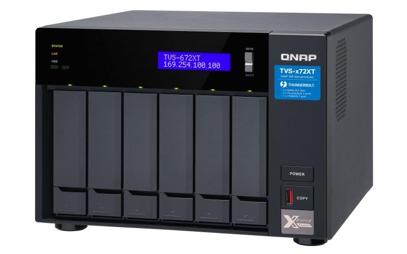 QNAP TVS-672XT-i5-8G (6core 3,3GHz, 8GB RAM, 6xSATA, 2xM.2 NVMe, 2x1GbE, 1x10GbE, 2x Thunderbolt 3) - TVS-672XT-i5-8G