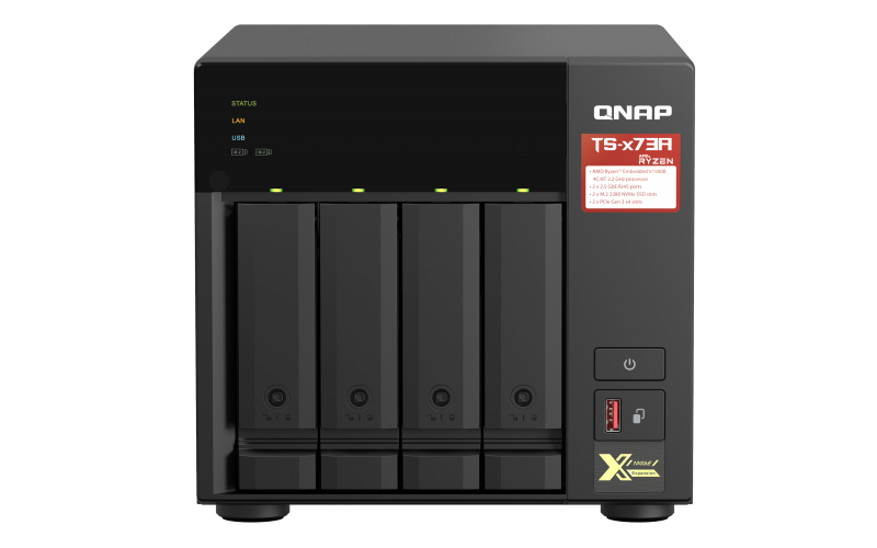 QNAP TS-473A-8G (Ryzen 2,2GHz / 8GB RAM / 4x SATA / 2x M.2 NVMe slot / 2x 2,5GbE / 2x PCIe / 4x USB) - TS-473A-8G