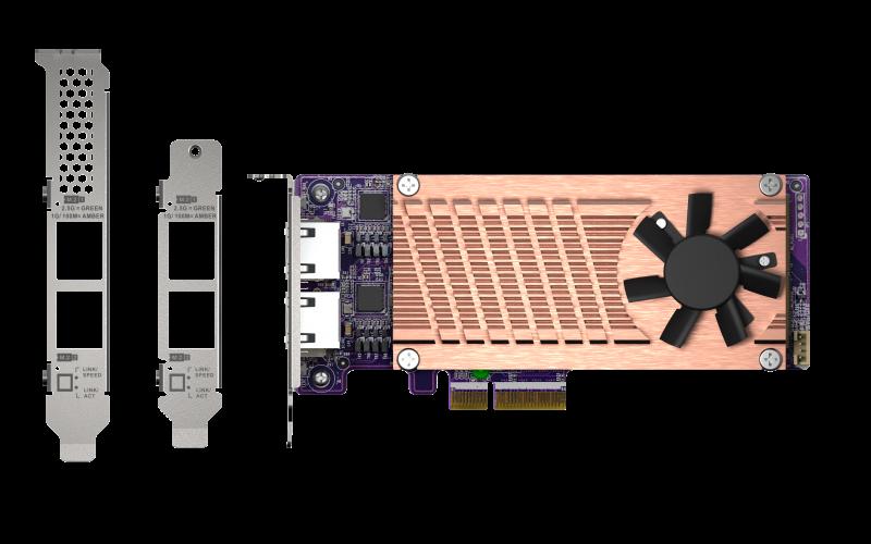QNAP QM2 series, 2 x PCIe 2280 M.2 SSD slots, PCIe Gen3 x 4 , 2 x  Intel I225LM 2.5GbE NBASE-T port - QM2-2P2G2T