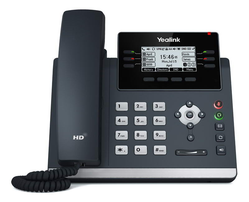 Yealink SIP-T42U SIP telefon, PoE, 2,7'' 192x64 LCD, 15 prog.tl.,2xUSB, GigE - SIP-T42U