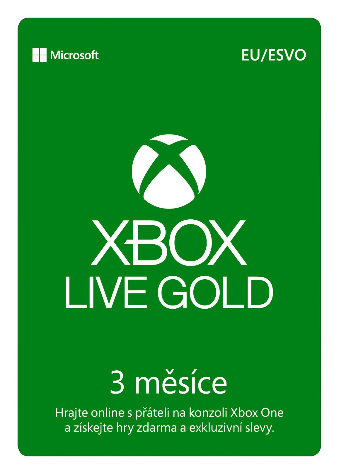ESD XBOX - Zlaté členství Xbox Live Gold - 3 měsíce (EuroZone) - S2T-00009