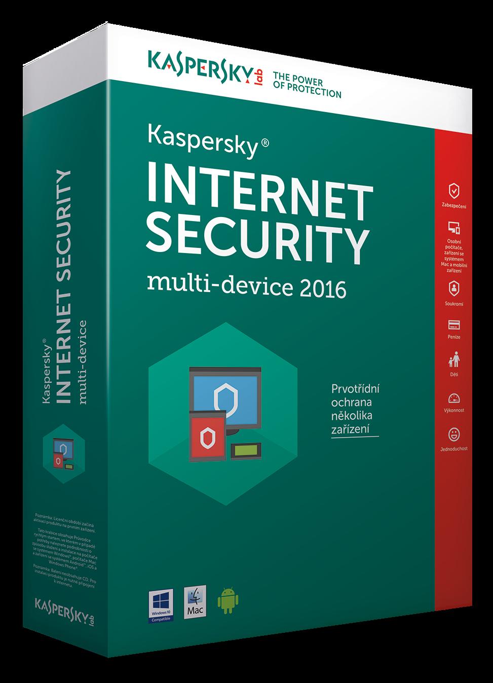 Kaspersky Internet Security MD 2016/2017 1+1 zařízení /1 rok NOVÁ licence CZ Krabice