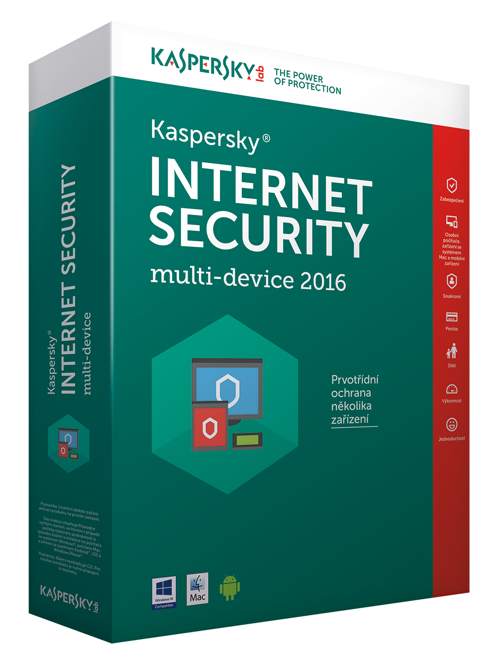 Kaspersky Internet Security MD 2016/2017 3+1 zařízení /1 rok NOVÁ licence CZ Krabice