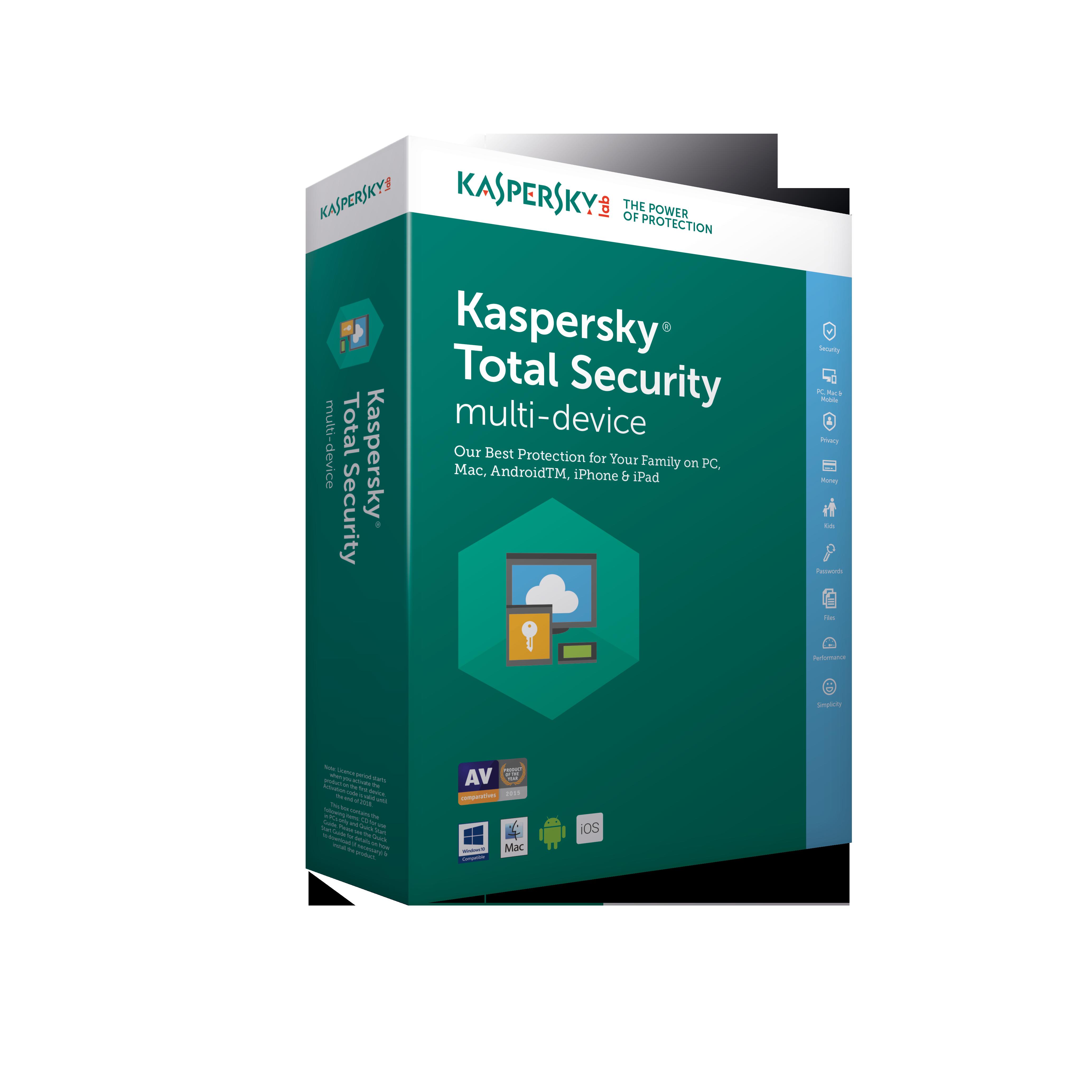 Kaspersky Total Security 2018, 3x, 2 roky, obnova