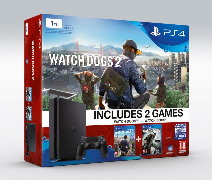 PS4 - Playstation 4 1TB Slim + 2hry: Watchdogs a Watchdogs 2 od 15.11.
