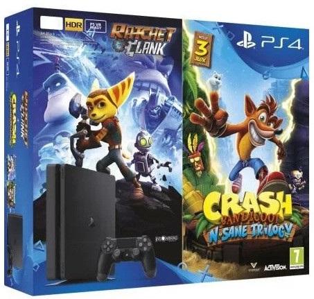 PS4 -  PlayStation 4 černý 500GB + 2 hry: Crash Bandicoot + Ratchet&Clank