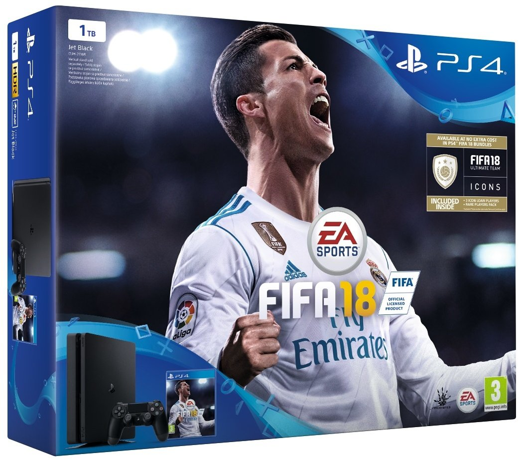PS4 - Playstation 4 1TB black + FIFA18 + PS Plus 14 dní