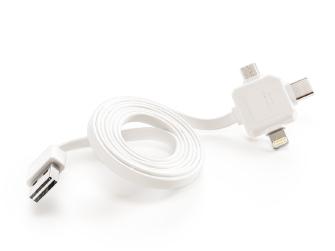 PowerCube USBcable USB-C CABLE, White, multi-vidlice (MicroUSB, Apple Lithning, USB-C), kabel 1,5m