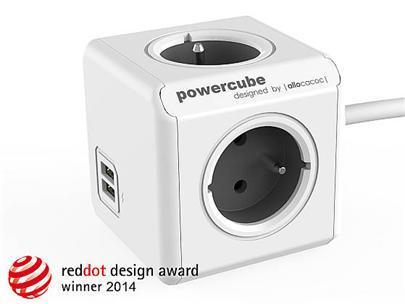Zásuvka prodluž. PowerCube EXTENDED USB, Grey, 4 rozbočka, 2x USB, kabel 1,5m