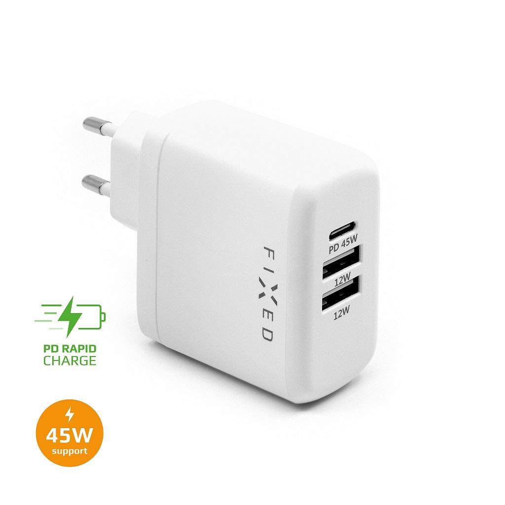 Nabíječka FIXED s USB-C a 2xUSB, PD, 45W - FIXC45-C2U-WH