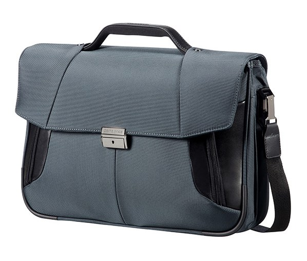 "08N*18009 Samsonite XBR BRIEFCASE 2 GUSSETS 15.6"" Grey/Black"
