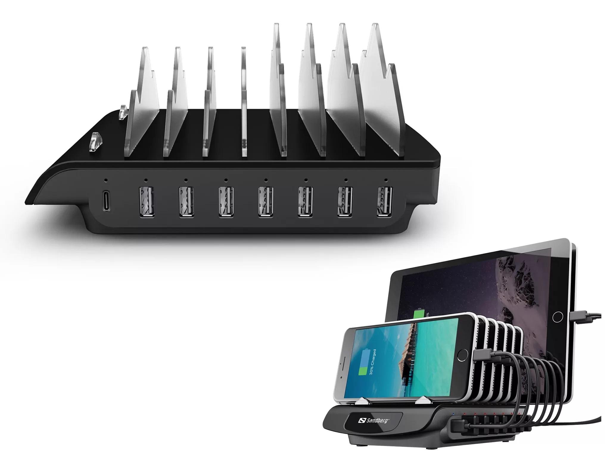 Sandberg nabíječka Multi USB Charging Station, 1x USB-C PD 30W,  7x USB-A, černá - 441-17