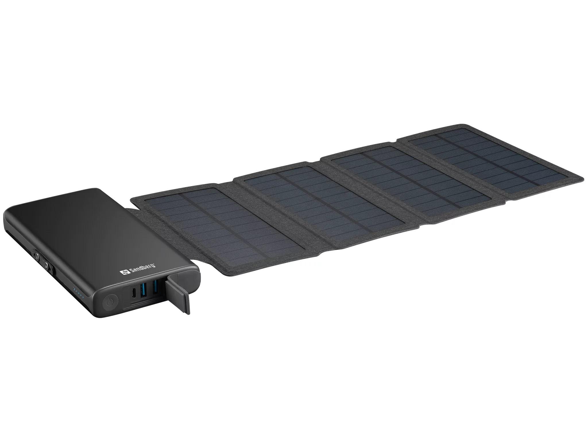 Sandberg Solar 4-Panel Powerbank 25000 mAh, solární nabíječka, černá - 420-56