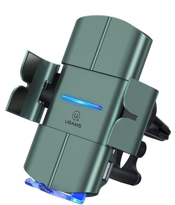 USAMS CD132 Automatic Coil Air Con. Držák do Auta vč. Bezdrátového Dobíjení 15W Black - 6958444987446