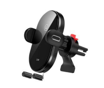 USAMS CD131 Automatic Coil Držák do Auta vč. Bezdrátového Dobíjení 15W Black - 6958444987439