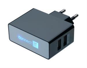 POWER CHARGER se dvěma USB porty 2.1 A/1 A černý - CI-153