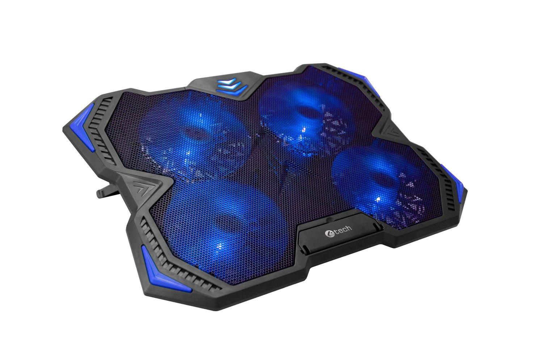 Chladící podložka C-TECH Zefyros (GCP-01B), casual gaming, 17,3'', modré podsvícení, regulace otáček