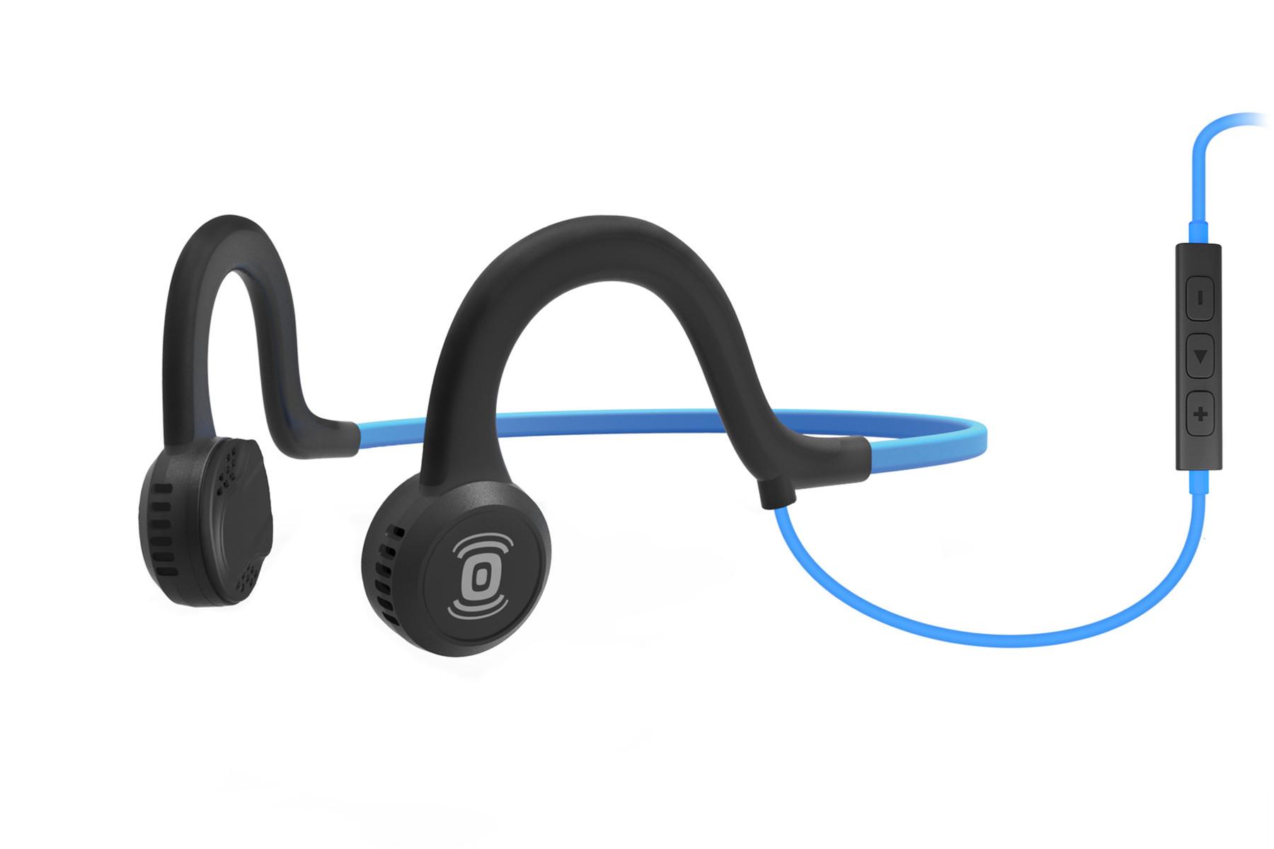 AfterShokz Sportz Titanium Mic, sportovní sluchátka před uši, s mikrofonem, modrá