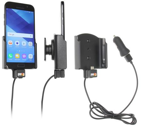 Brodit držák do auta na Samsung Galaxy A5 (2017) bez pouzdra, s nabíjením z cig. zapalovače/USB
