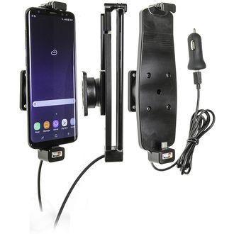 Brodit držák do auta na Samsung Galaxy S10+/S9+/S8+ a jiné, s pružinou,s nab. z cig.zapalovače/USB