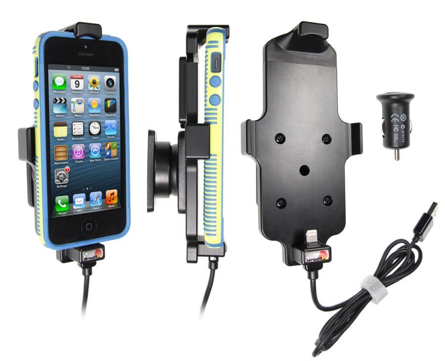 Brodit držák do auta na Apple iPhone 5/5S/S v pouzdru, s nabíjením z cig. zapalovače/USB