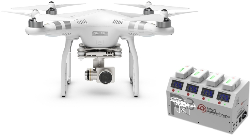DJI kvadrokoptéra - dron, Phantom 3 Advanced, Ultra HD 2,7 kamera + nabíjecí stanice