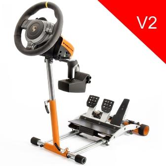 Wheel Stand Pro DELUXE V2, stojan na volant a pedály pro Porsche GT2 /CSR /CSP wheels oranžový