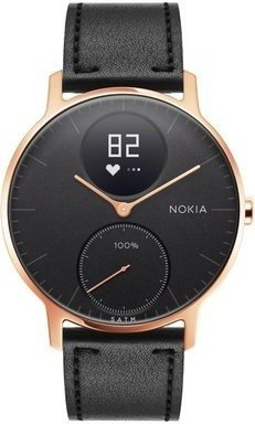 Nokia Steel HR (36mm) Rose Gold w/ Black Leather + Black Silicone wristband