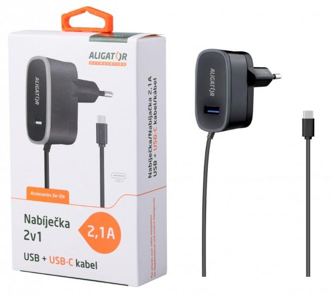 ALIGATOR nab. USB-C s USB výst 5V/2,1A, černá