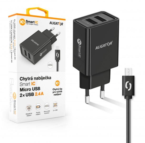 ALIGATOR Chytrá síťová nabíječka 2,4A, 2xUSB, smart IC, černá, micro USB kabel