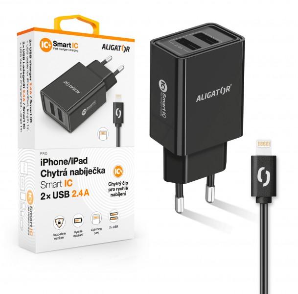 ALIGATOR Chytrá síťová nabíječka 2,4A, 2xUSB, smart IC, černá, USB kabel pro iPhone/iPad
