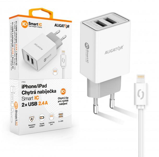 ALIGATOR Chytrá síťová nabíječka 2,4A, 2xUSB, smart IC, bílá, USB kabel pro iPhone/iPad