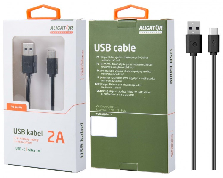 Datový kabel , USB-C, 2A, 1m, prodloužený konektor 9mm, černý - DKAC82BK