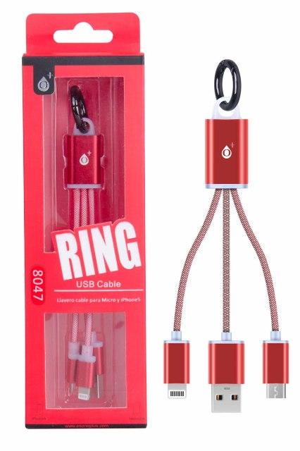 Nabíjecí kabel PLUS 2v1 Micro USB + iPhone Lightning, přívěšek na klíče, (8047), červený