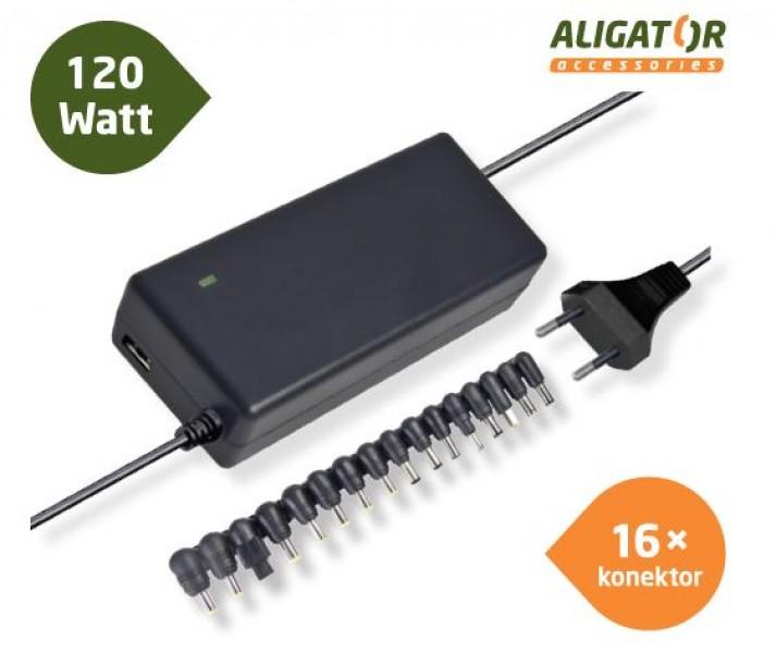 Aligator Univerzální adaptér k notebooku 120W s USB výstupem a 16 výměnnými konektory