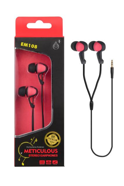 Sluchátka stereo PLUS EM108 červená