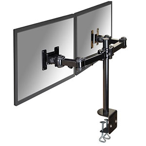NewStar Flat Screen držák na 2 PC monitory 10-27'', 6 kg, VESA 75x75 nebo 100x100 mm, černý