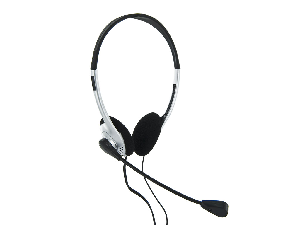 4World Headset 3.5mm 1.8m Silver