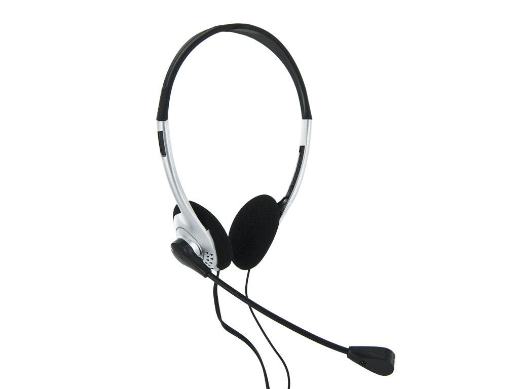 4World Headset 3.5mm 1.8m Silver