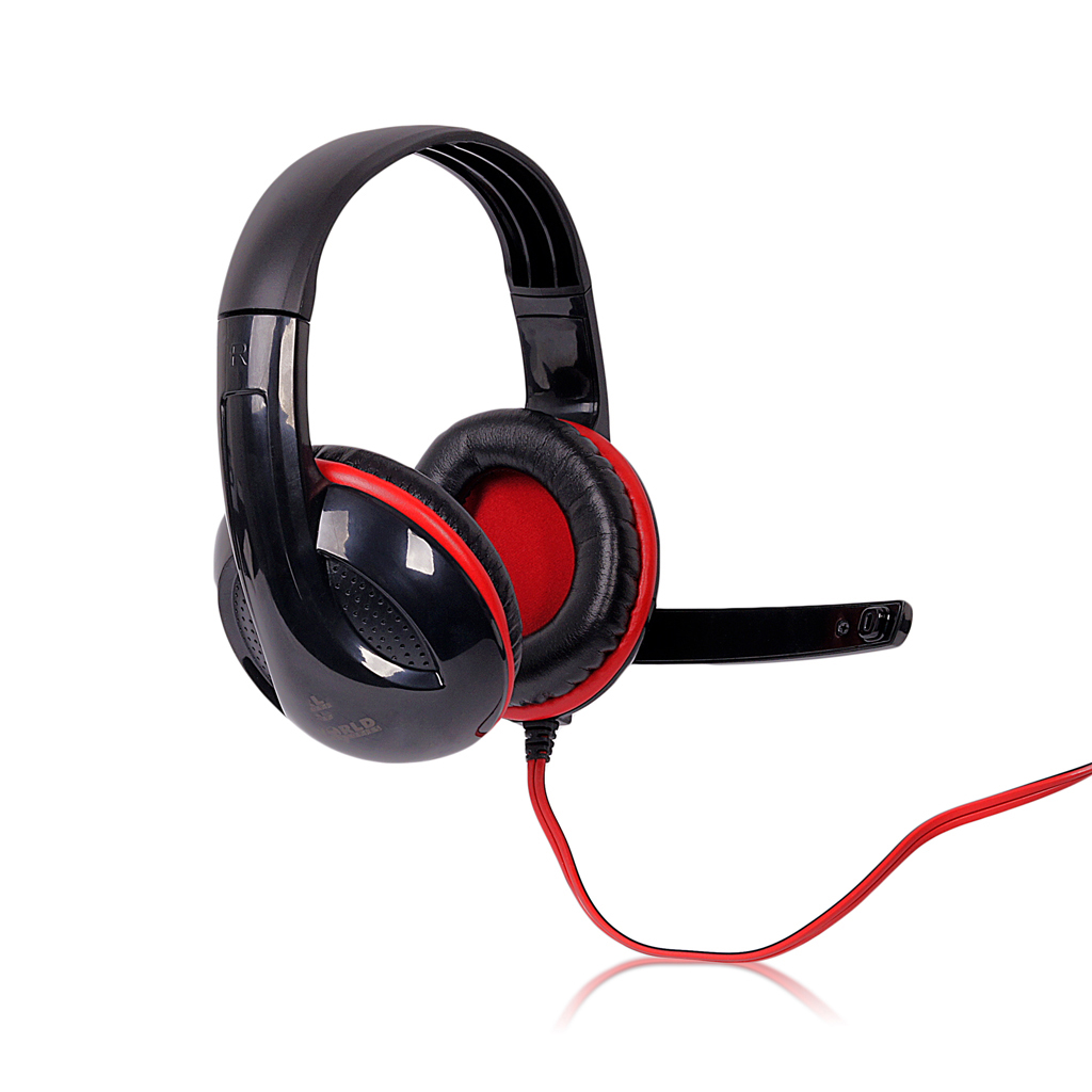 4World Headset 3.5mm 2.2m Black/Red