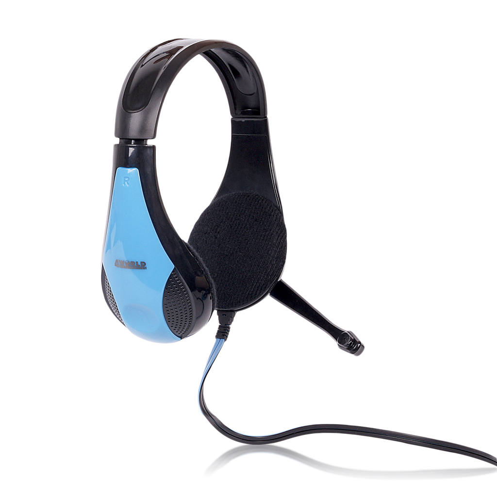 4World Headset 3.5mm 2.2m Black/Blue