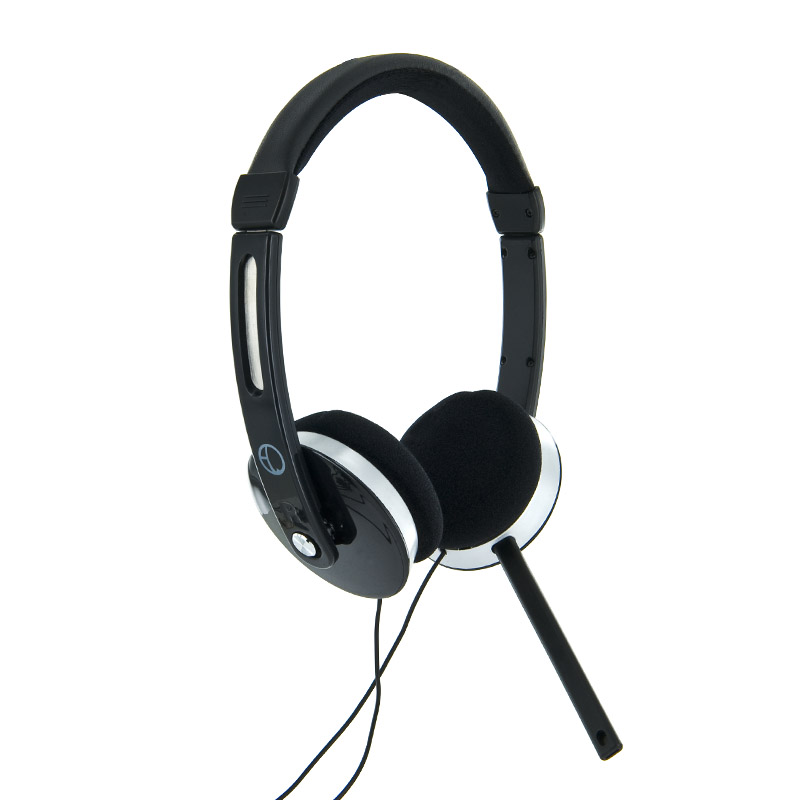 4World Headset 3.5mm 2.2m Black/Silver